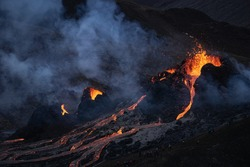 The volcanic eruption in Mt Fagradalsfjall, Southwest Iceland. The eruption began in March 2021.