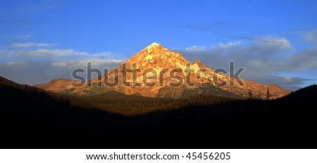The volcanic Mt. Hood, in Oregon, photographed at sunset.