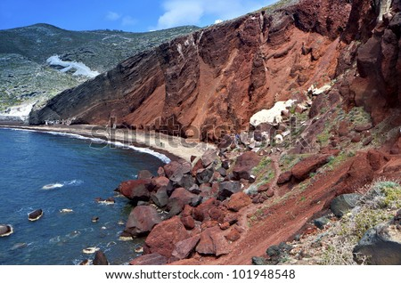 The volcanic Red beach at Santorini island in the Cyclades of Greece