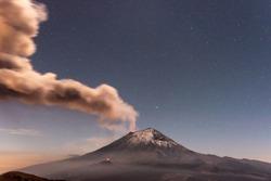 the volcano exploted at night