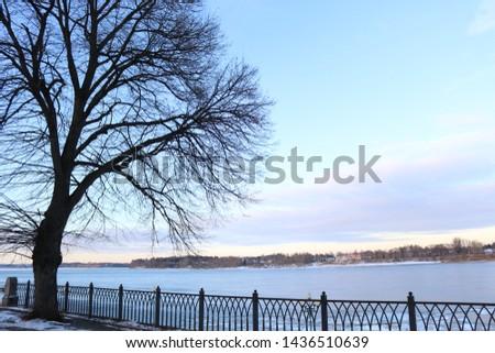 The Volga river embankment in the city of Rybinsk, Yaroslavl region early winter of 2018. Russia #1436510639