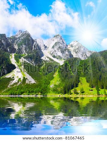 The Vorderer Gosausee alpine mountain lake in Salzkammergut, Austria, Europe.