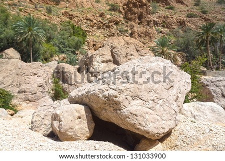 The Wadi Shab rocks in the one of the most famous and amazing wadi (valley) in  Oman