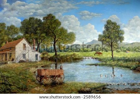 The Wagon, oil painting depicting a colorful landscape of a pristine countryside. Original oil on linen painted by the photographer. Original size 40 in X 60 in