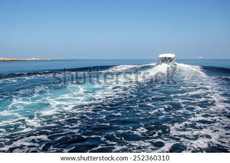 the wake of the ship in the ocean near Maldives