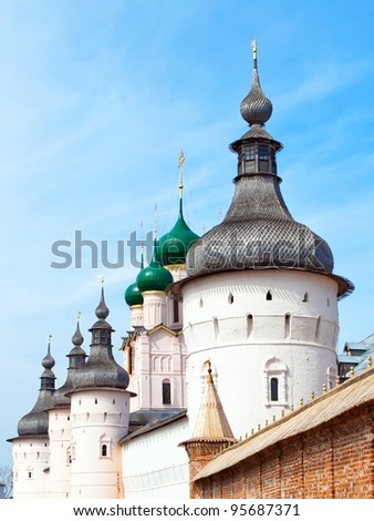 The wall and domes of Kremlin in Rostov the great.