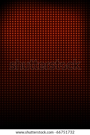 The wall illuminated with glowing red bulbs