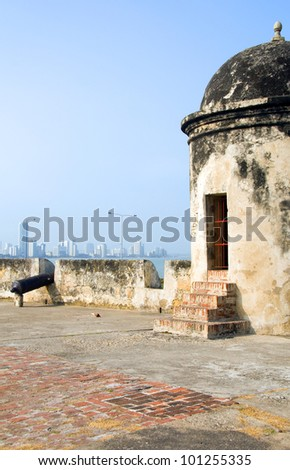 The Wall sentry box lookout with cannon view of Bocagrande beach Cartagena Colombia South America - stock photo