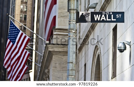 The Wall Street in Manhattan, New York.