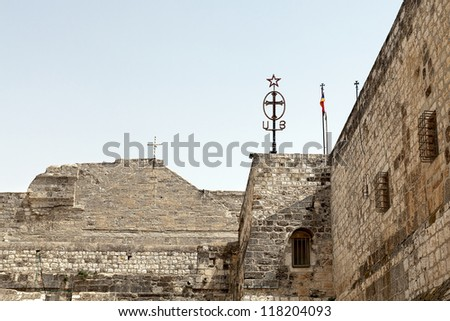 The walls of the Basilica of Nativity in Bethlehem