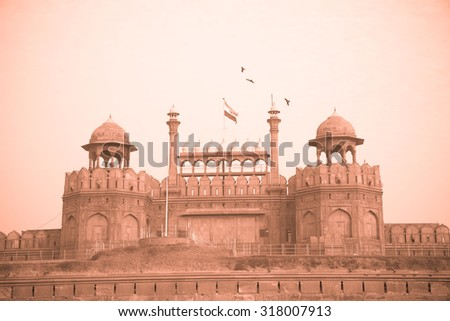The walls of the main entrance gate of the red fort of Old Delhi in India