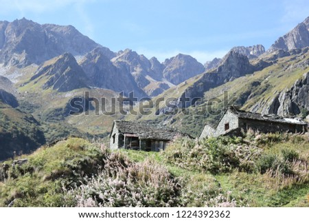 The Walser town of San Giacomo Maggiore, with stone lodges, high mountains, forests and pastures, in summer, Val d'Otro valley, Alps mountains, Italy Foto stock ©