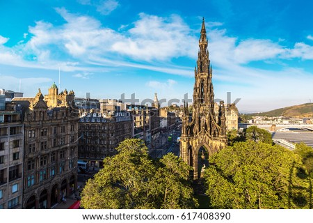 The Walter Scott Monument in Edinburgh in a beautiful summer day, Scotland, United Kingdom ストックフォト ©