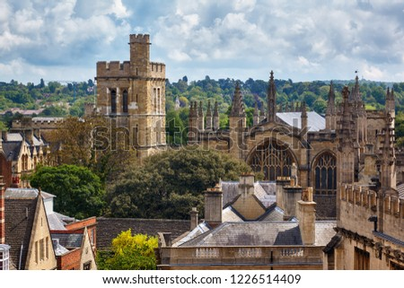 Photo of  The Warden and Scholars of St Mary's College of Winchester. New college chapel and bell tower with the oldest rings of bells, as seen from the cupola of Sheldonian Theatre. Oxford University. England