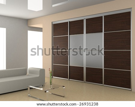 The wardrobe in the modern interior 3D