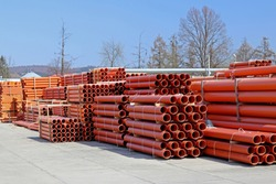 The warehouse of industrial plastic pipes and large diameter hoses. Products from plastic. Drainage and sewerage. Modern technologies of building houses and ennobling the territory. Urban network.