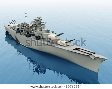 the warship on a blue sea