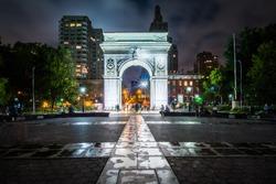 The Washington Arch at night, in Washington Square Park, Greenwich Village, Manhattan, New York.