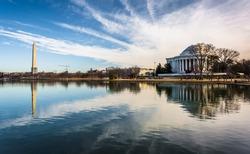 The Washington Monument and Thomas Jefferson Memorial reflecting in the Tidal Basin, Washington, DC.