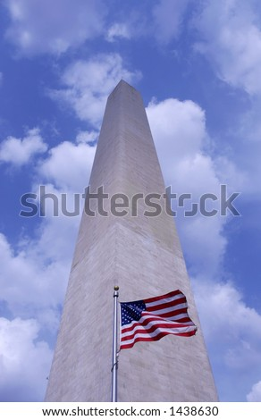 The Washington Monument with flag