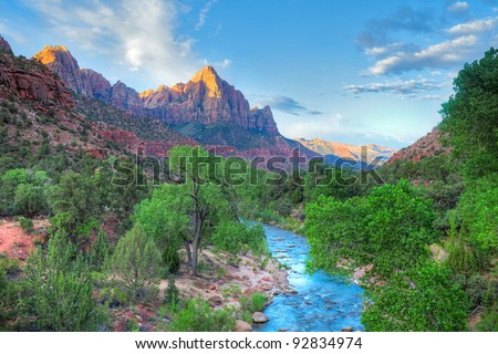 The Watchman at sunrise in Zion Canyon. HDR composition.