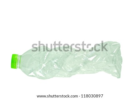 The water bottle  distort isolated on white background
