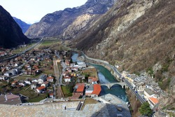 The water channel and town under the mountain, Fort of Bard, Italy