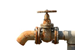 The water control pipe is a water pipe from an old rusted water closet. With dry conditions without using water. White background