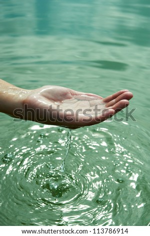The water in the palms of women
