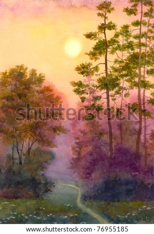 The watercolor landscape showing pleasure of light of the morning sun