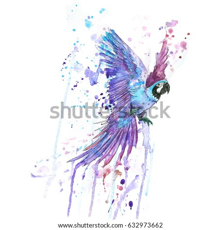 Stock Photo the watercolor macaw parrot
