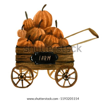 The watercolor wheelbarrow is full of pumpkins, the autumn season and the farmers' markets are in full swing. Element for compositions on the theme of fairs and halloween.