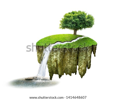 The waterfall flows down below, with trees floating on a floating island on a white background, completely separated from each other with the sunshine. #1414648607
