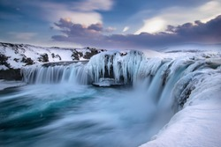 The waterfall Godafoss in Iceland. Shot in February 2018.