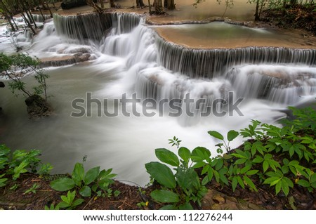 The waterfall in rain forest is beautiful.Hauymaekhamin waterfall  ,Thailand