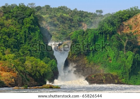 The waterfall Murchison Falls on the Victoria Nile river, northern Uganda