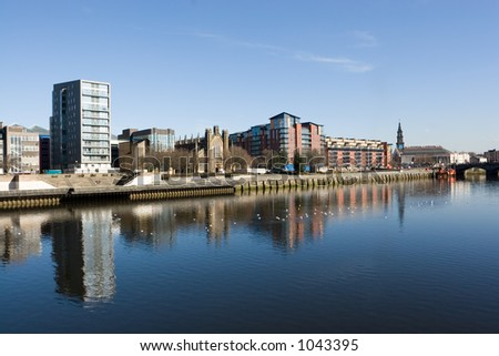 The waterfront at Clyde Street, Glasgow, Scotland