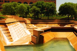 The Watergarden in Downtown Ft Worth, Texas is a public park that featured levels of cascading water