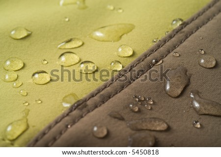 The waterproof fabric, water drops on the cloth