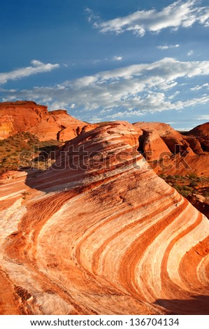 The Wave - an interesting sandstone formation in Valley of Fire State Park near Las Vegas, Nevada.