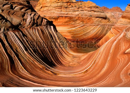 The wave, wide angle photo.  Petrified sand dune layers.  Vermilion Cliffs National Monument.  Arizona, Utah border.  U.S.A.