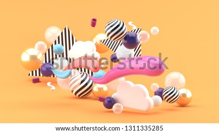 The waves floating among clouds and colorful balls on an orange background.-3d rendering.