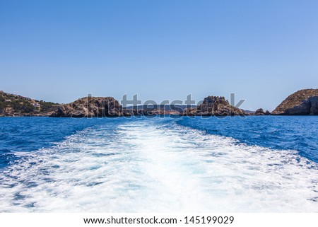 The waves from a high-speed boat. waterway.  Sea Travel