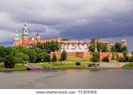 The Wawel Royal Castle medieval landmark in Cracow, Poland