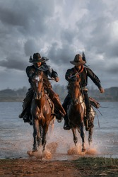 The way of life of a cowboy is to ride a horse around various locations