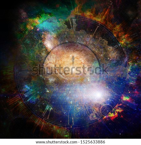 The way to Eternity. Spiritual composition. Man on a stone road in vivid space. 3D rendering