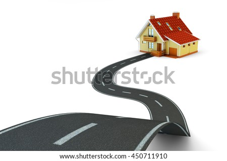 The way to home, real estate and navigation concept, single lane road track leading to the house building isolated on white, 3d illustration