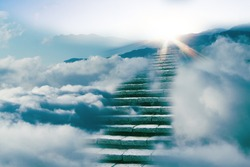 The way to success concept : stair on the cloud