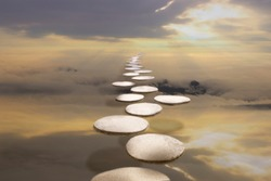 The way to success concept : the walkway on the clouds