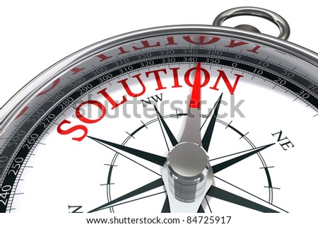 the way to the solution conceptual image compass showing the direction where you can find the solution